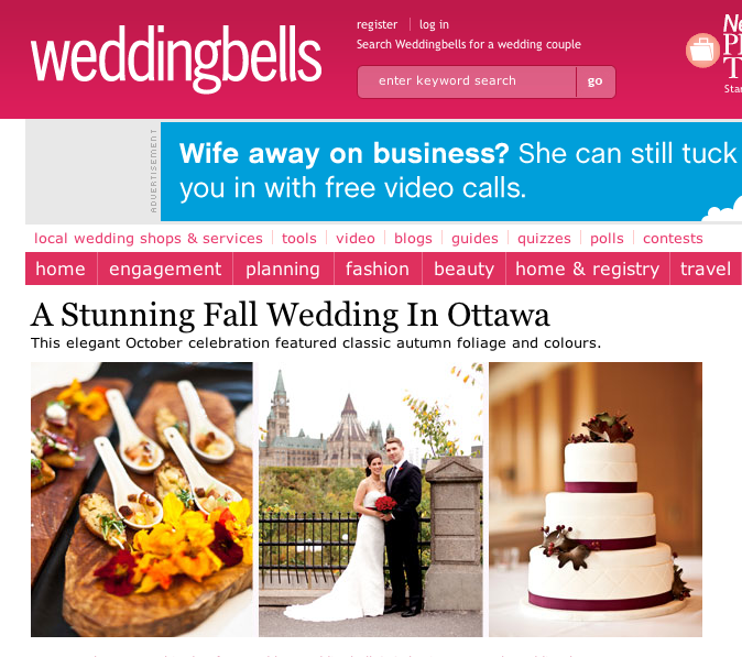 screenshot of union eleven wedding photographs featured on the front page of the weddingbells website