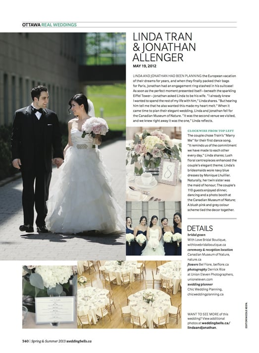 images and write up for a wedding in weddingbells magazine in ottawa