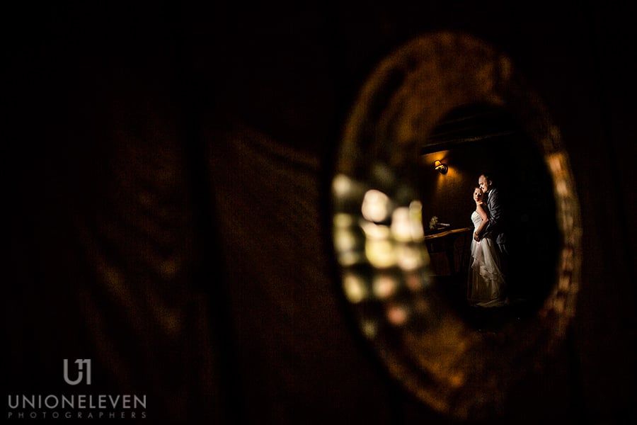 bride and groom reflection portrait stonefields carleton place wedding