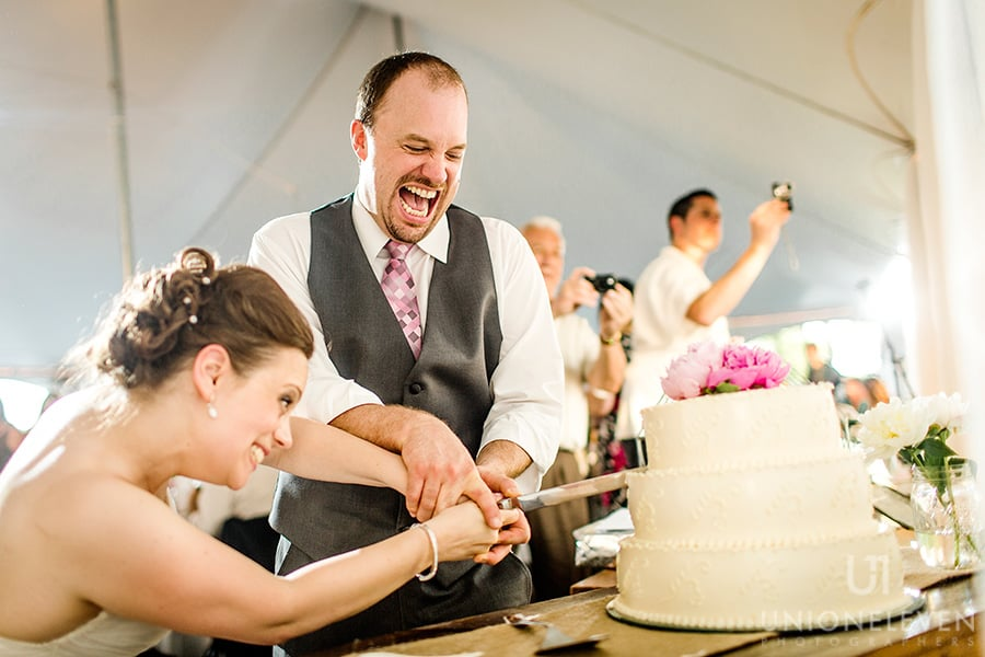 bride groom cutting cake stonefields carleton place wedding