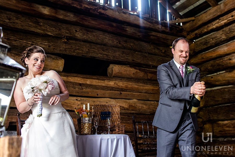 bride groom popping cork stonefields carleton place wedding