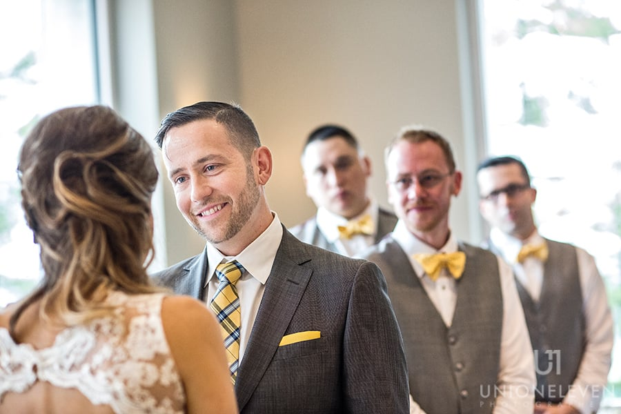 groom smiling during ceremony le belvedere wakefield quebec