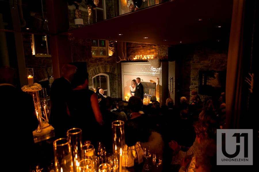 candlelit wedding ceremony in ottawa at restaurant 18