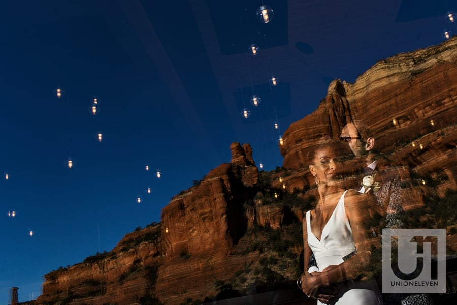 bride and groom at the enchantment resort, sedona, arizona