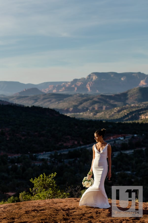 Bride in the Arizona mountains in Sedona