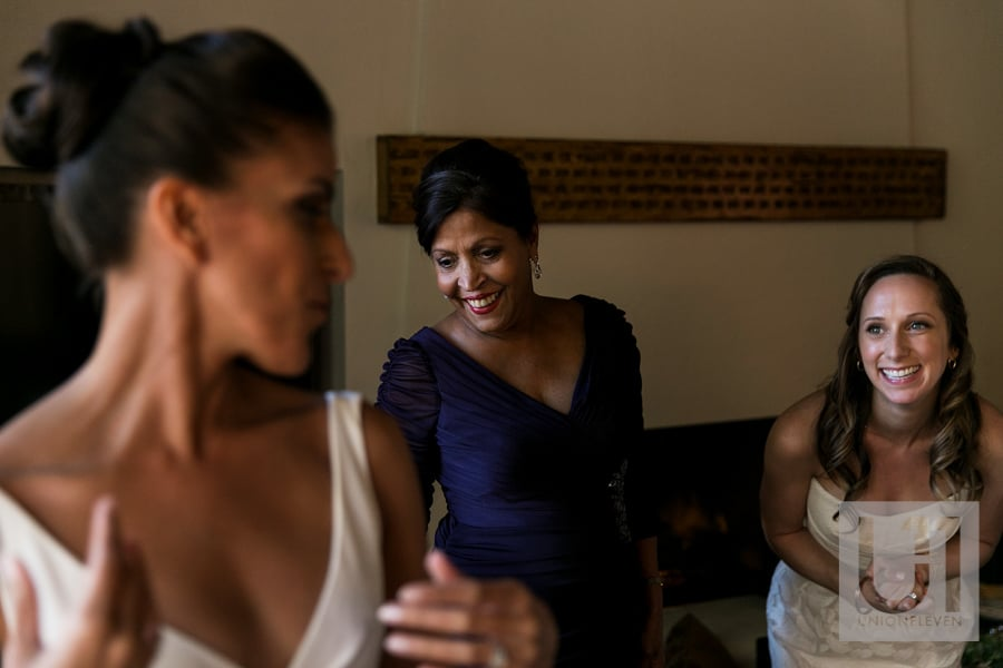 Sedona Arizona Wedding - Mother of bride and bridesmaid putting on dress
