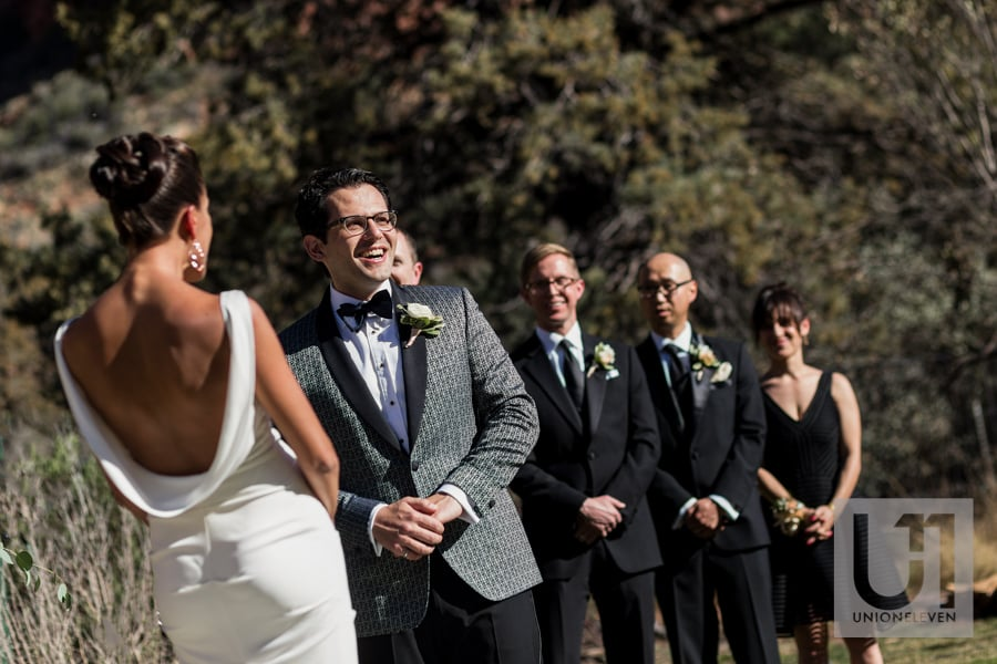 Sedona Arizona Wedding - happy groom during wedding ceremony