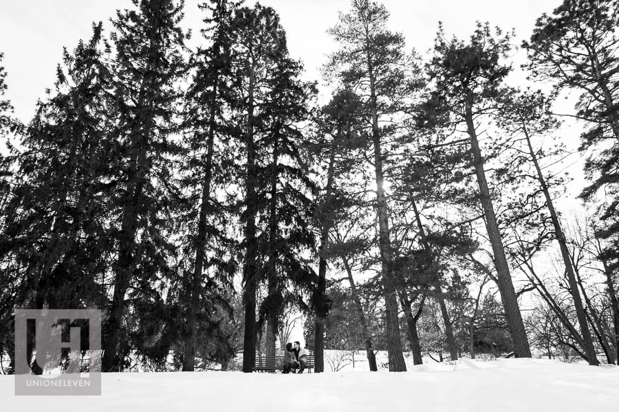 black and white photo of an engaged couple at the arboretum in ottawa