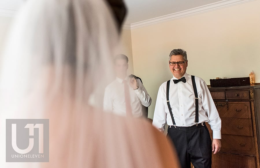 dad reeaction to seeing bride in wedding dress for the first time ottawa wedding