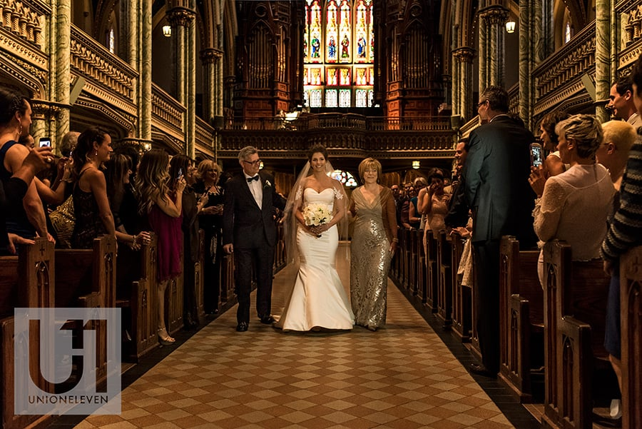 bride walking down aisle notre dame cathedral basilica ottawa wedding