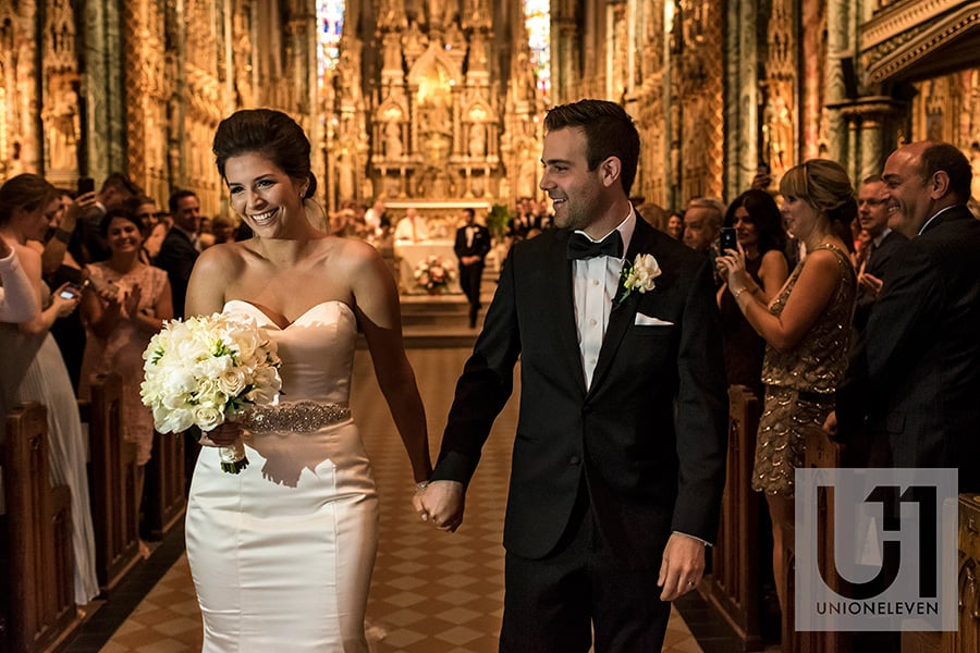 bride groom walking aisle recessional notre-dame cathedral basilica ottawa wedding