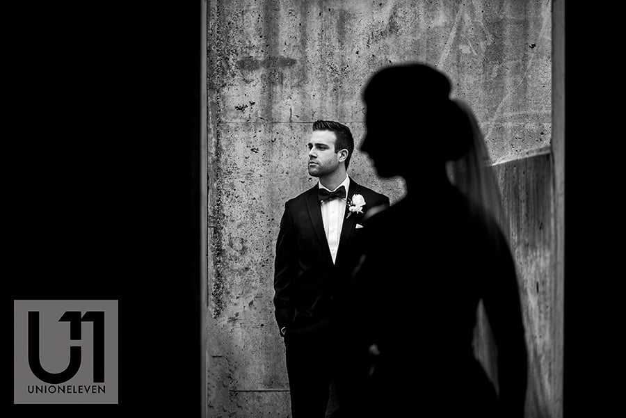 bride silhouette groom portrait parking garage hilton lac-leamy wedding