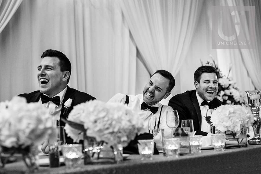 groomsmen reaction to grooms speech hilton lac-leamy wedding