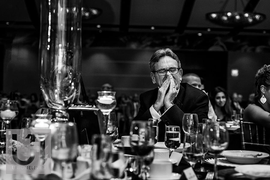 grooms dad crying during groom speech hilton lac-leamy wedding