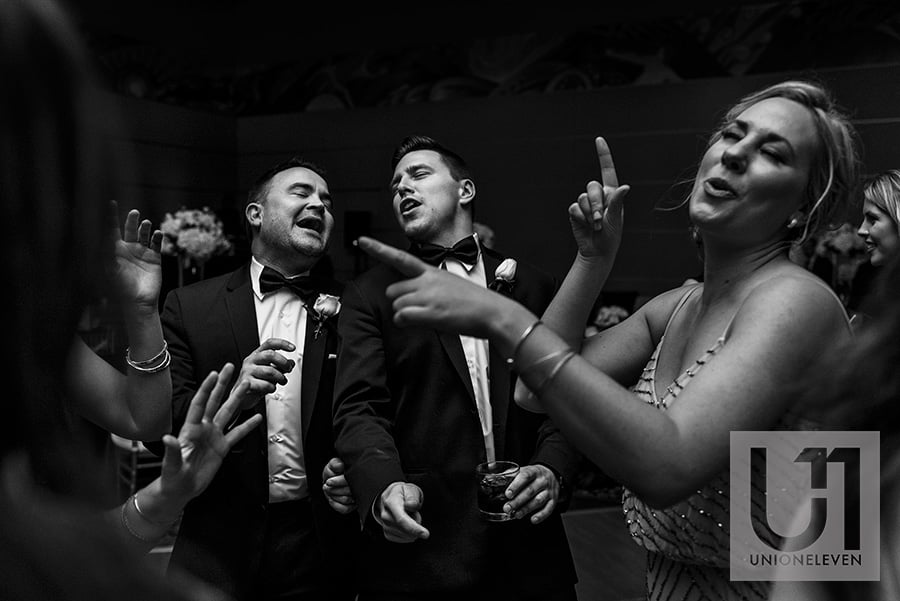 groomsmen dancing hilton lac-leamy wedding