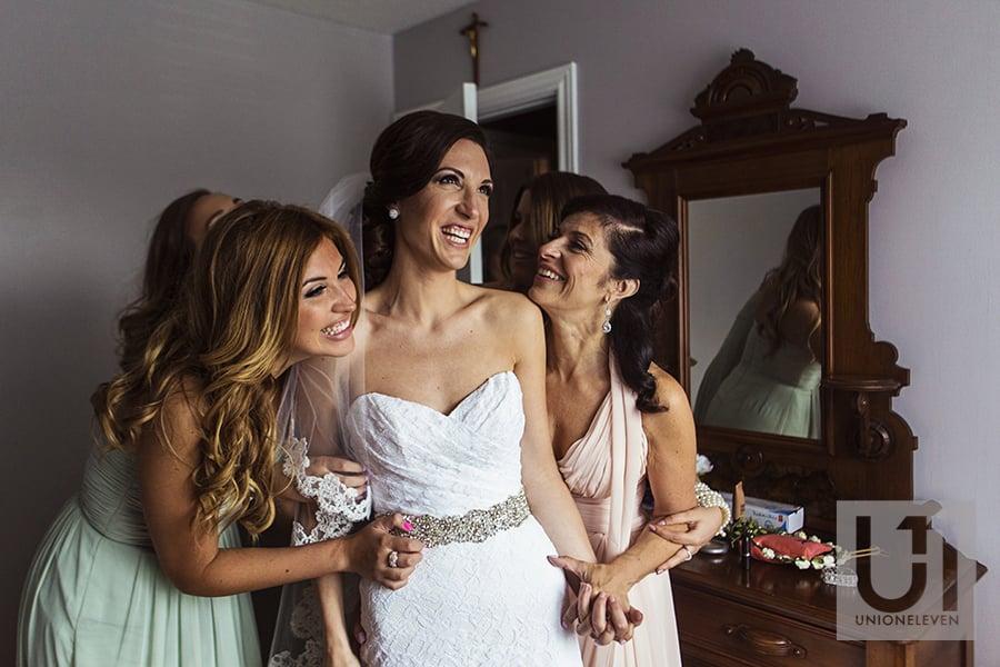 bride seeing herself in her wedding dress