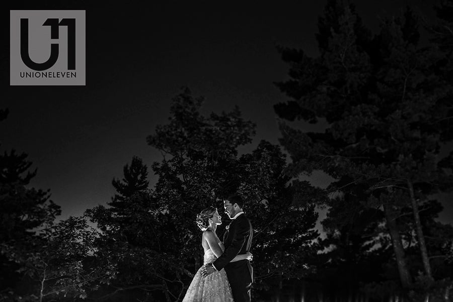 bride and groom posing for a night portrait in a forest at a bride and grooms mothers dancing at a le belvedere wedding in wakefield