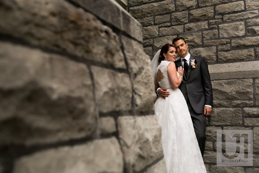 bride and groom outside saint patricks basilica in ottawa