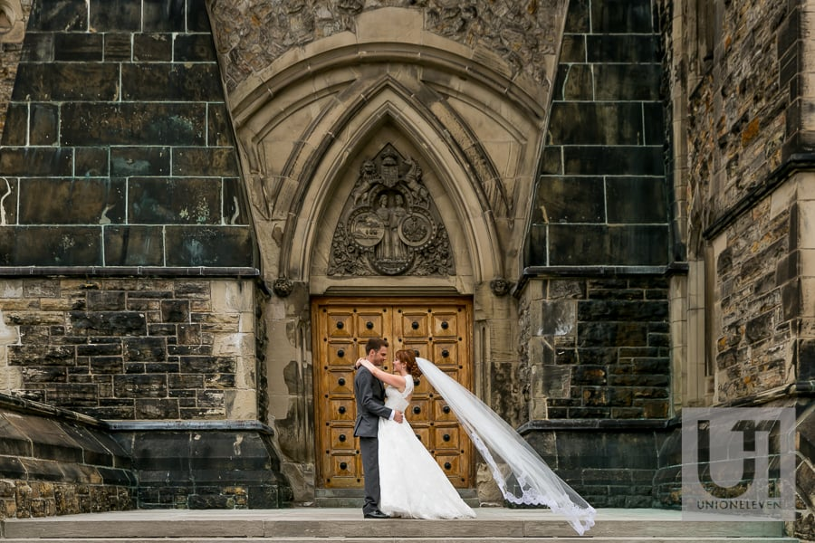 bride and groom on parliament hill