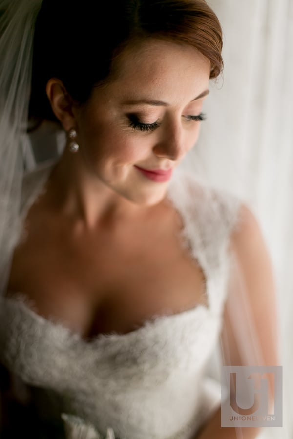 bride portrait with window light