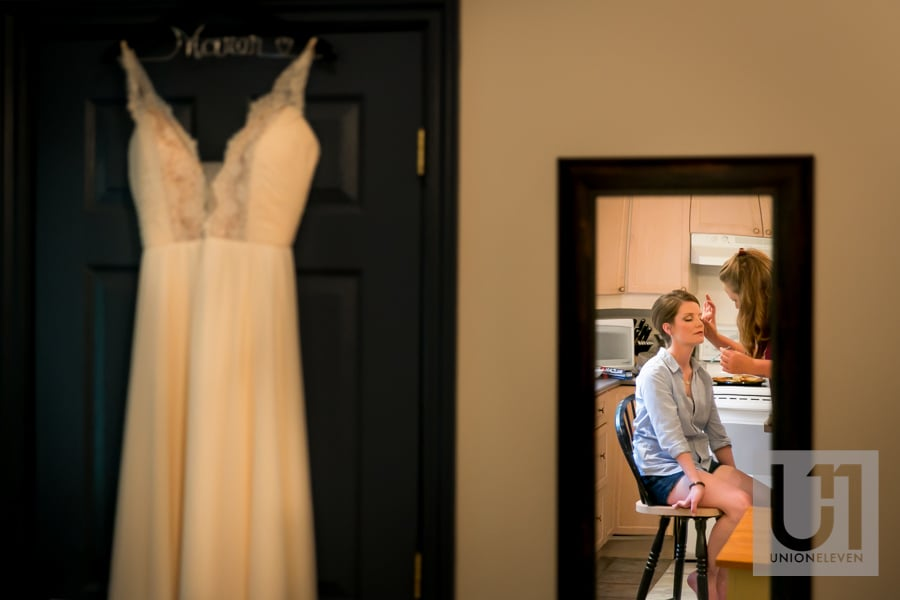 bride getting ready at strathmere