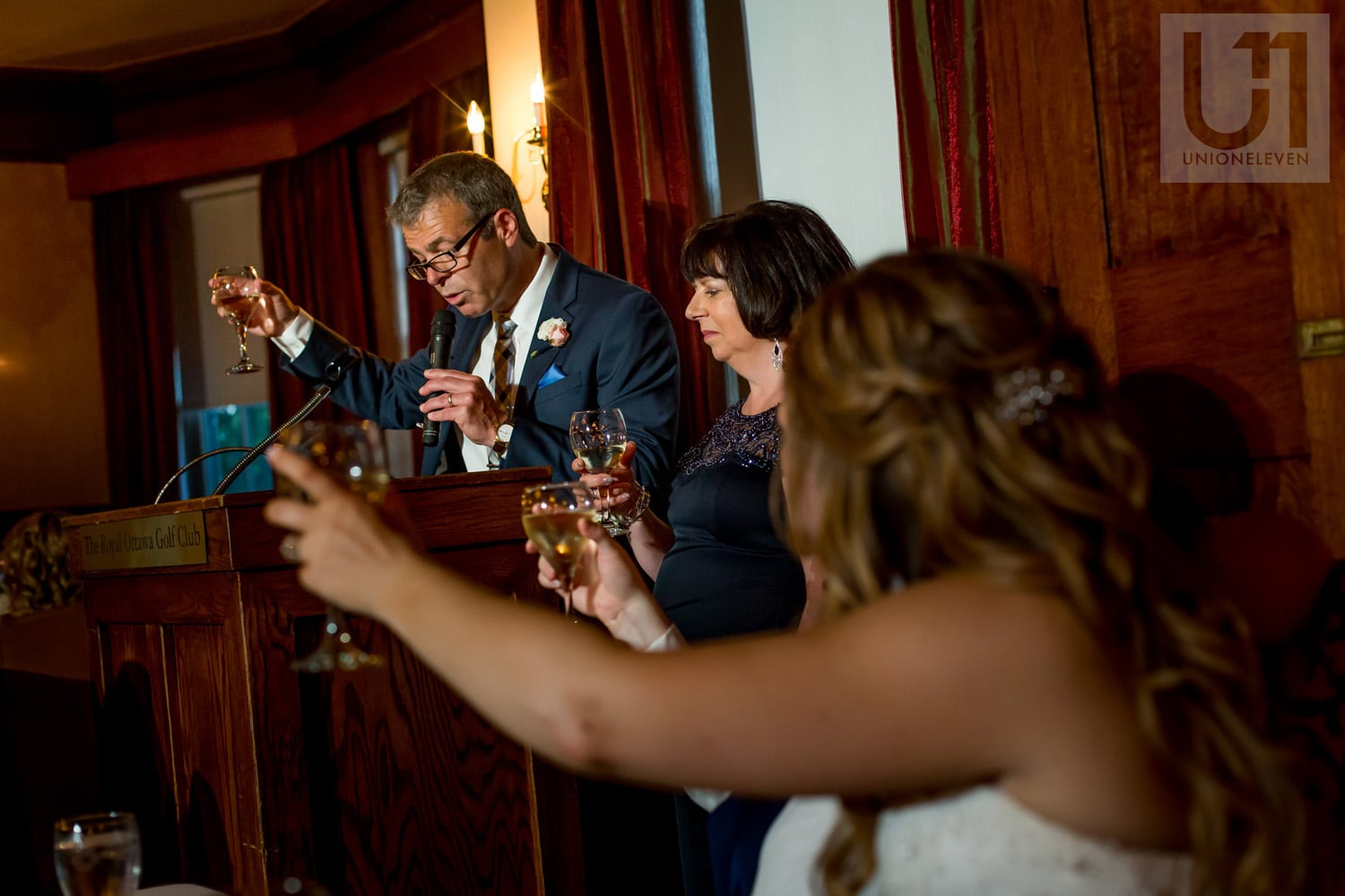 parents of the bride making a toast at wedding reception in Gatineau