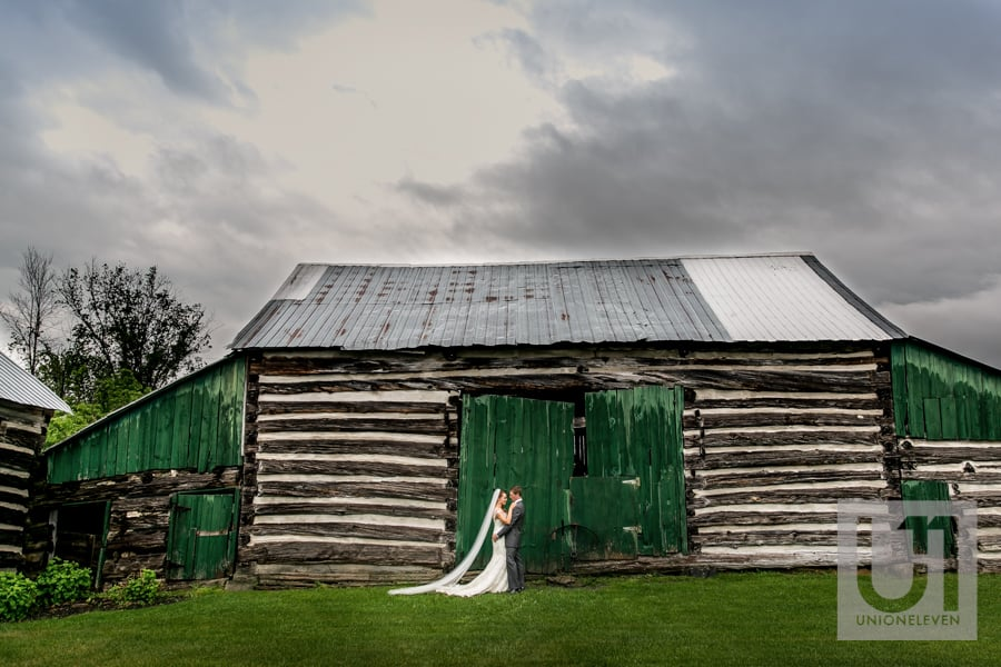 bride and groom outside at stonefields
