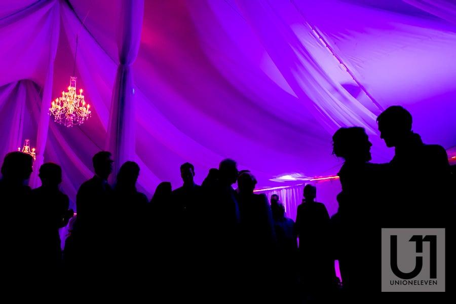 silhouette of a wedding reception dancefloor