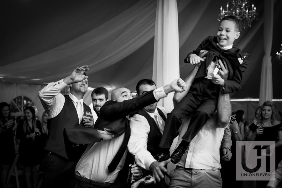 bunch of guys trying to catch the garter