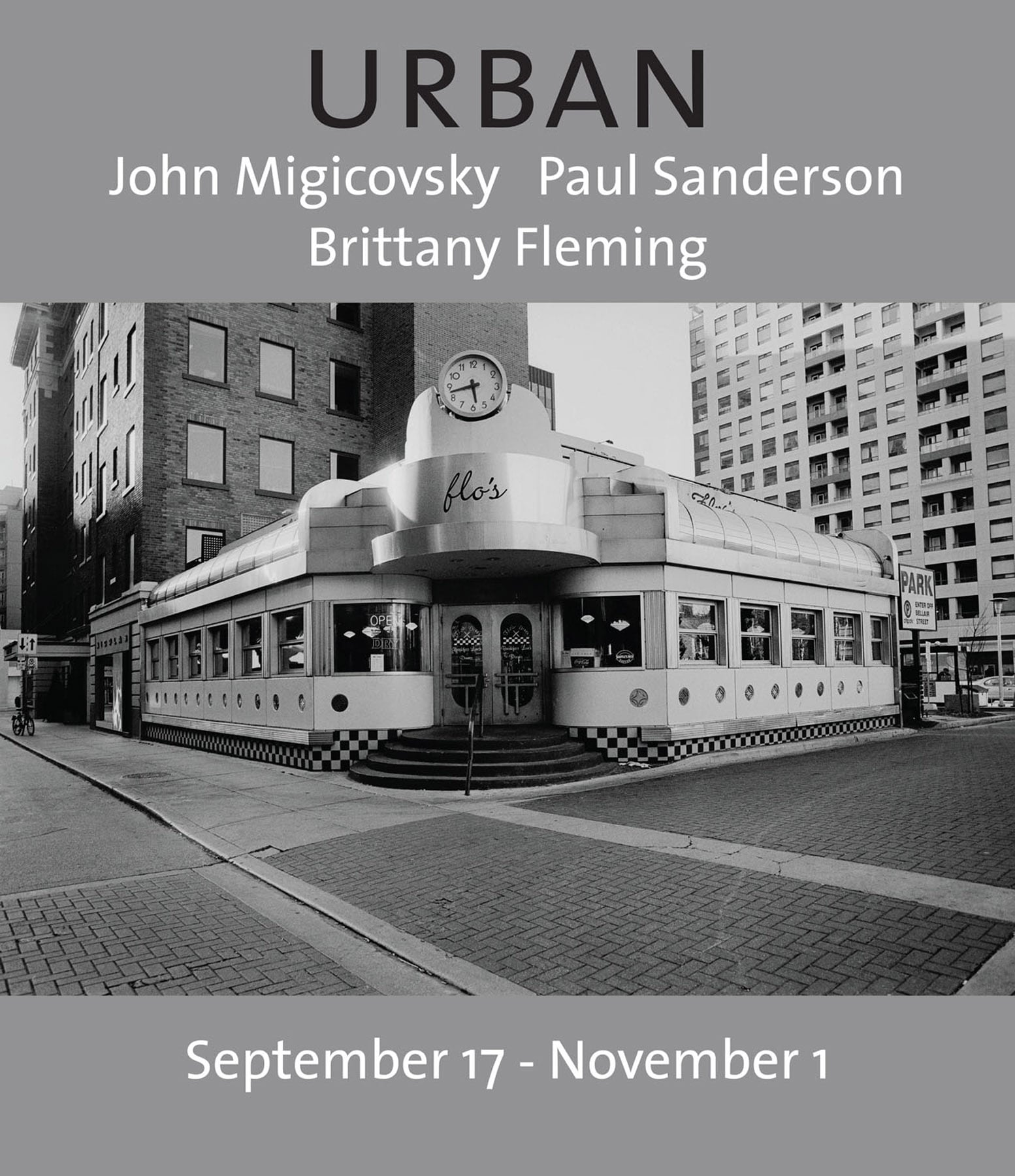 poster for gallery opening in Toronto, showcasing a photo of a diner in a metropolitan setting