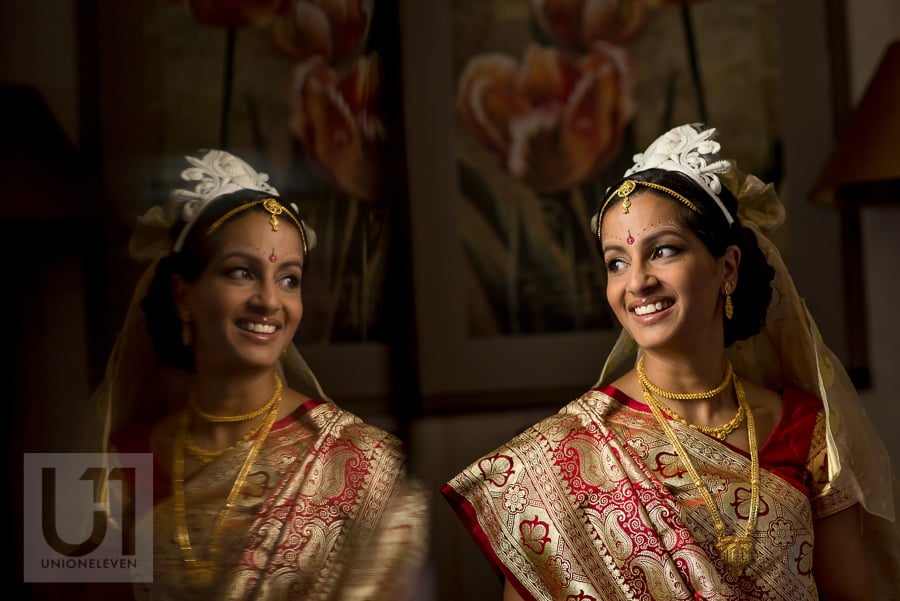 portrait of bride in traditional Hindu dress and headpiece