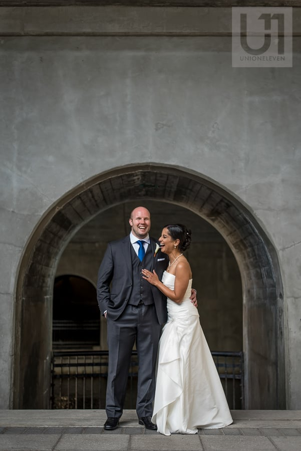 portrait of bride and groom at the locks in downtown Ottawa