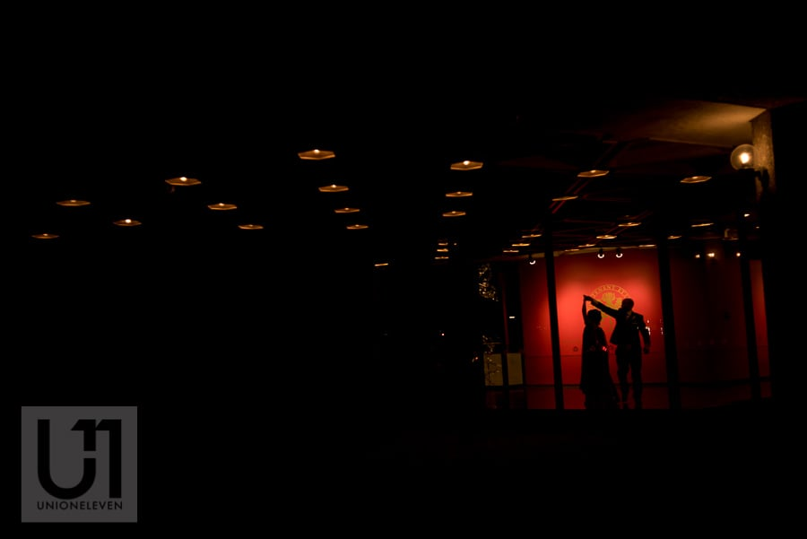 silhouette portrait of bride and groom dancing at the National Arts Centre in Ottawa