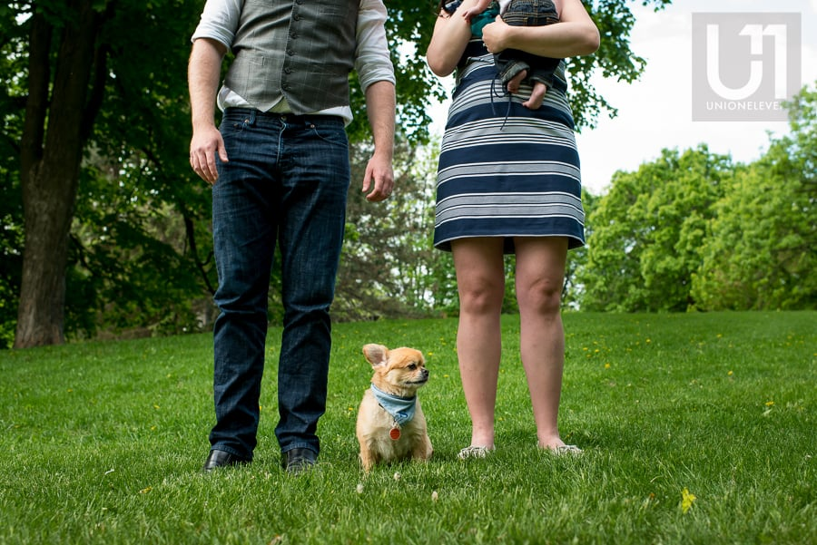 small dog sitting between father and mother who are standing in a park, mother is holding baby