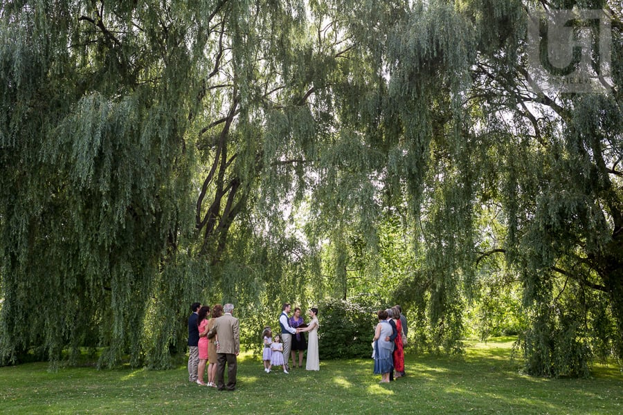 Wide shot of a man and woman getting married at the Arboretum in Ottawa, while their guests watch on.