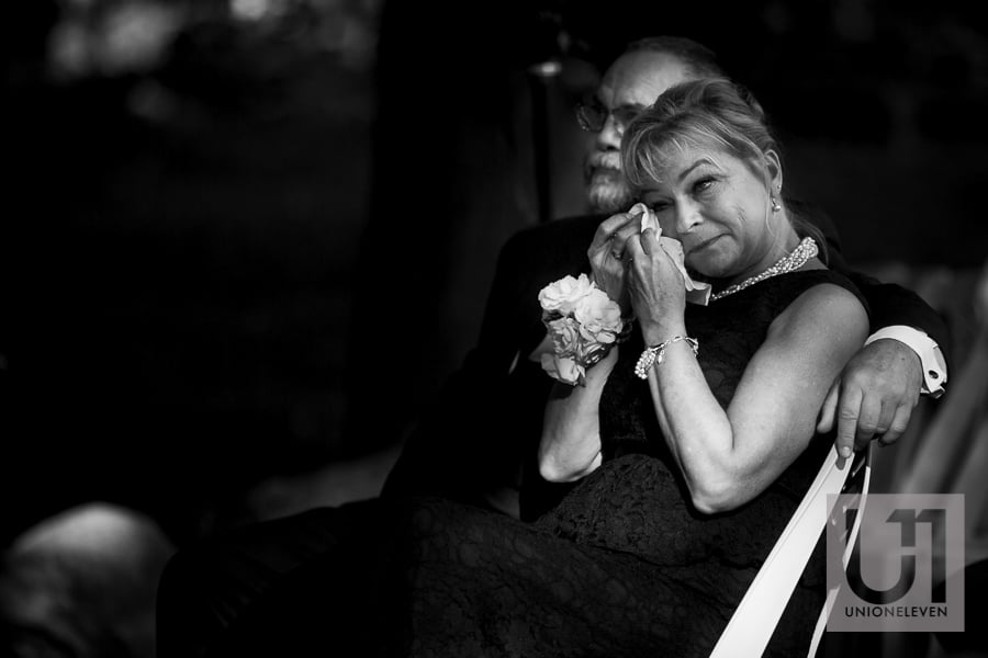 brides mother crying at a wedding