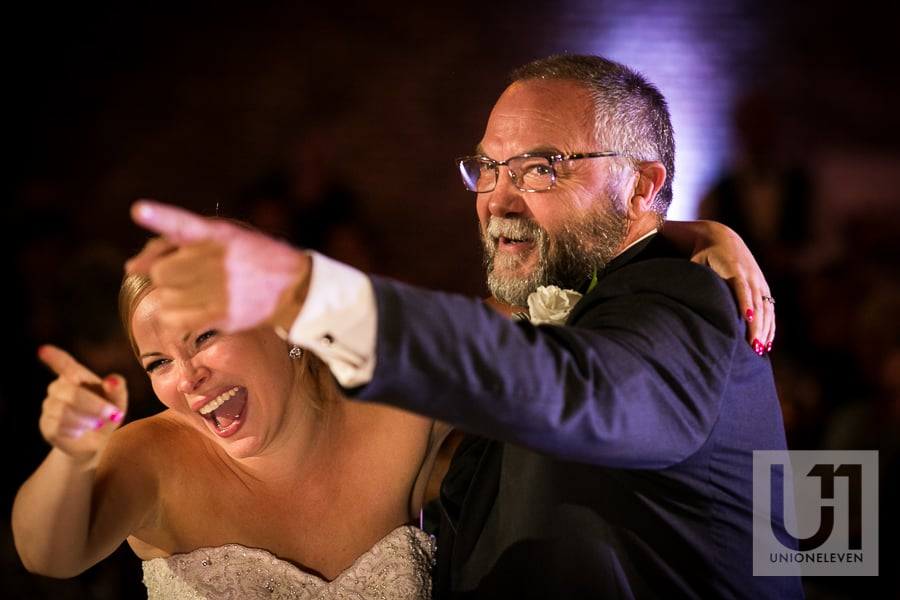 photo of a bride and her father dancing