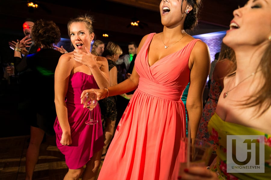 bridesmaids dancing at a wedding