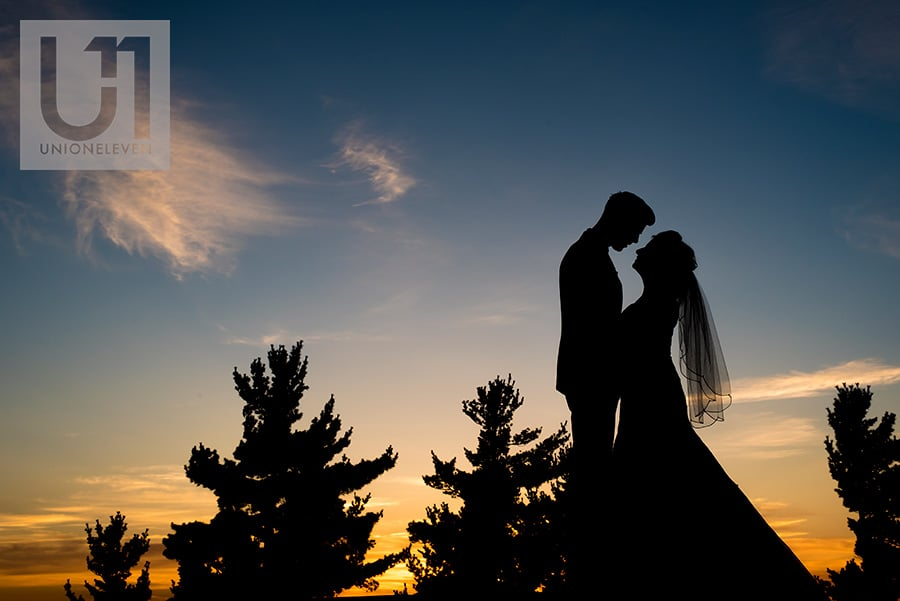 bride and groom sunset portrait at a le belvedere wedding