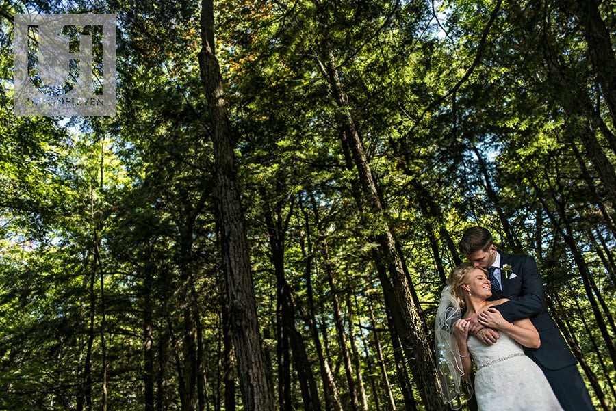 bride groom in a forest in wakefield quebec