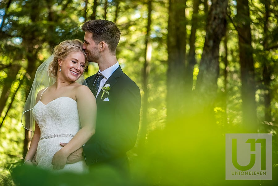 bride groom in a forest at a le belvedere wedding