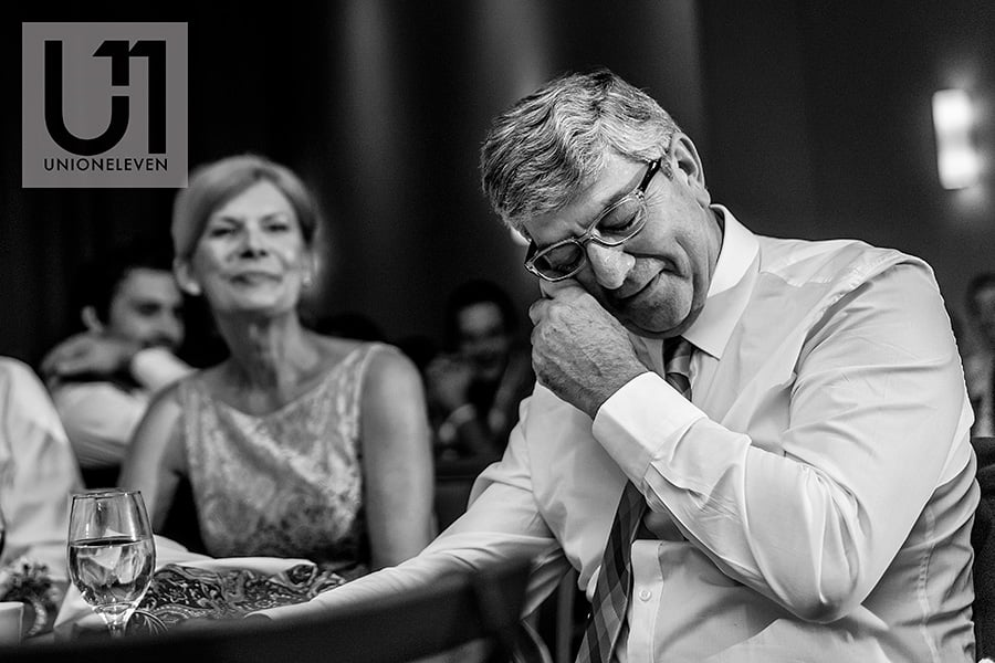 father crying during bride groom speech at a le belvedere wedding
