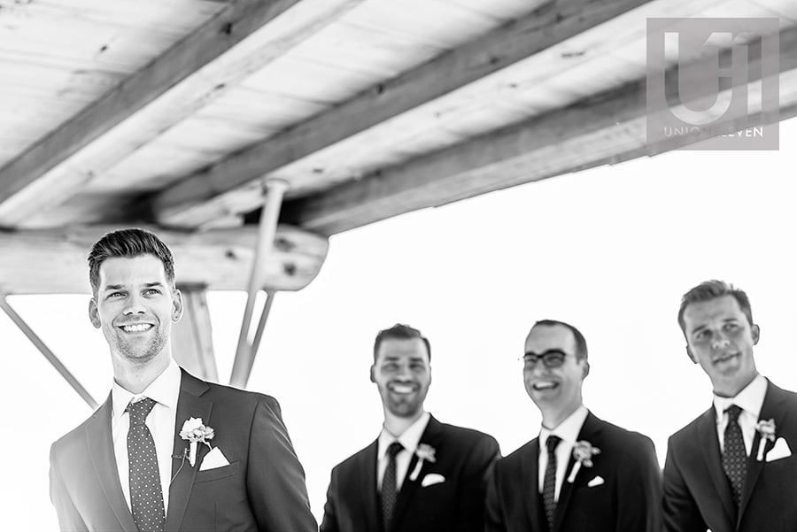 grooms reaction to seeing bride walk down the aisle at a le belvedere wedding