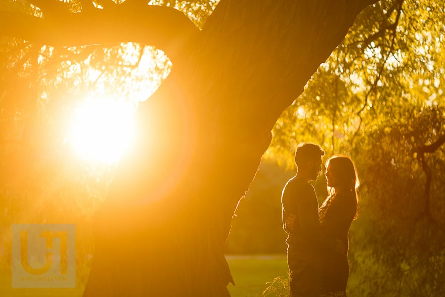 young couple standing in an embrace to the right of a large tree at Arboretum, while sun sets behind them.