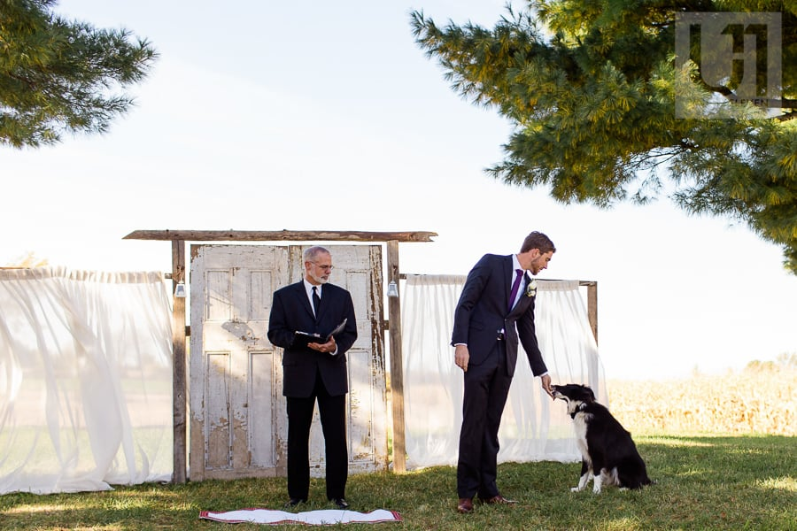 Groom standing at alter at outdoor wedding ceremony, petting his black and white dog while minister watches them both.