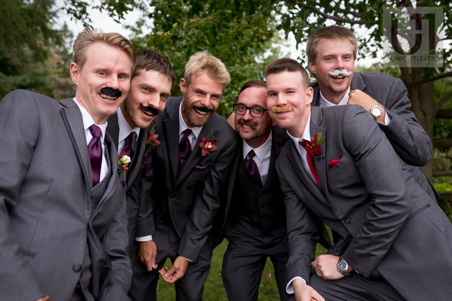groom and 5 other men sporting fake moustaches at wedding ceremony at Strathmere in Ottawa