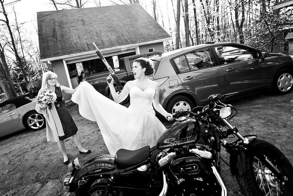 bride with shotgun and motercycle