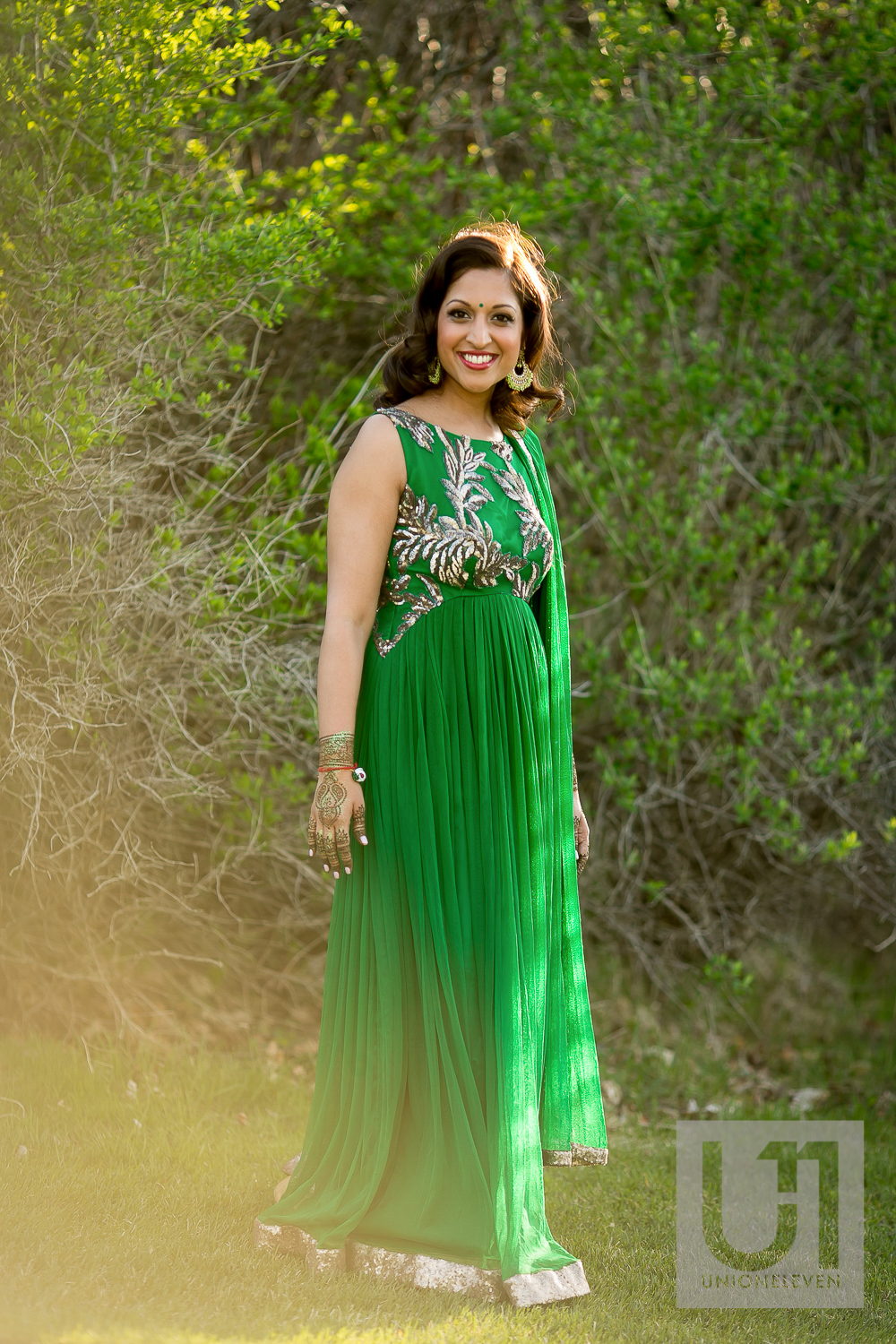 indian bride in a green dress