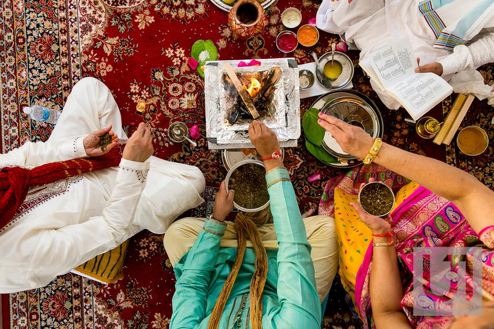 ceremonial fire at a hindu wedding