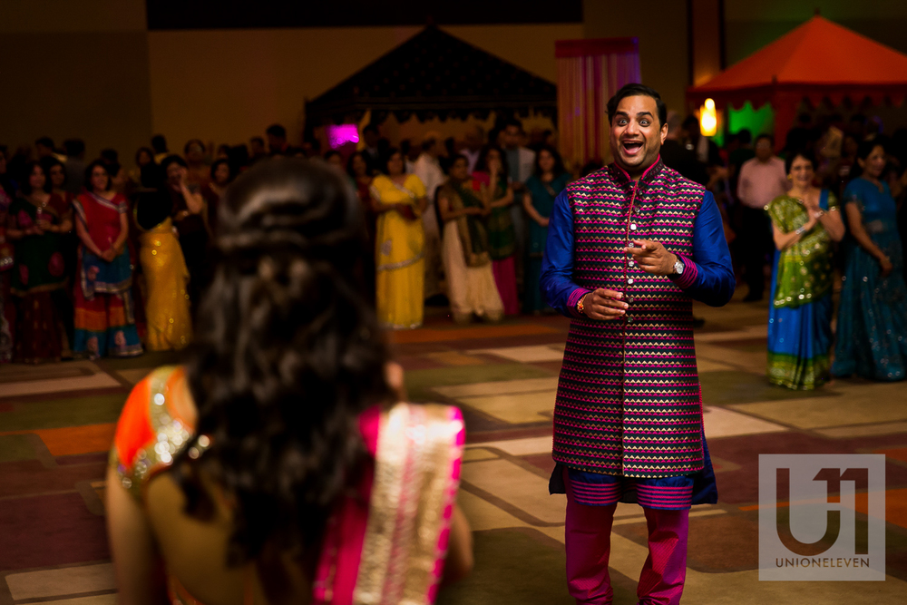 indian groom sees his bride at their wedding reception at the westin hotel